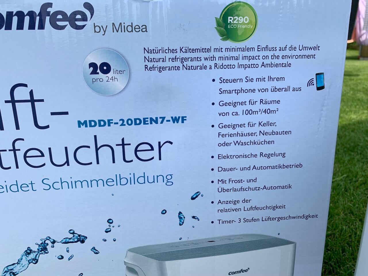 comfee Luftentfeuchter - Herstellerangaben auf der Verpackung